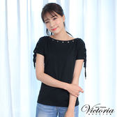 Victoria  肩綁帶變化短袖T-女-黑色