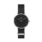 【Daniel Wellington】PETITE瑞典時尚品牌經典簡約尼龍腕錶-極致黑x銀-28mm/DW00100248/原廠公司貨兩年保固