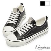 厚底鞋 水鑽綁帶軟皮革休閒小白鞋-黑