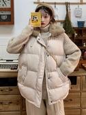 秋冬韓版新款寬鬆加厚慵懶風中長款棉衣棉服無袖馬甲女兩件套 喵可可