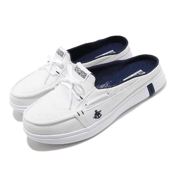 Skechers 拖鞋 Glide Ultra-Sail 白 藍 女鞋 休閒鞋 懶人鞋 【ACS】 16121WNV