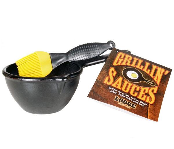 丹大戶外用品【LODGE】LMPK 醬料鍋附刷 鑄鐵材質/會釋放鐵離子使食材更好吃 荷蘭鍋