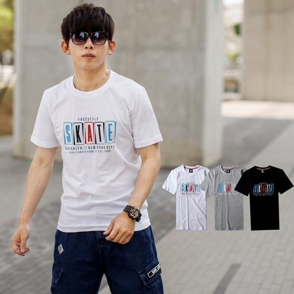 T恤 三色立體印膠SKATE文字短T【NB1021J】