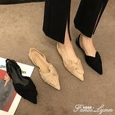 店主推薦~尖頭淺口粗跟涼鞋女溫柔氣質絨面仙女包頭后空中跟單鞋 范思蓮恩