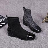 新款冬季新款彈力靴針織襪靴方頭女靴粗跟短靴中跟靴拼接裸靴