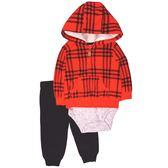 Carter s 長袖套裝 絨毛外套+短袖包屁衣+長褲三件組紅格紋 男寶寶【CA121H647】