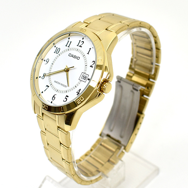 CASIO手錶 經典數字金色鋼錶NECE13