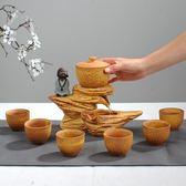 功夫懶人半全自動茶具家用陶瓷防燙旋轉泡茶器組合茶具6杯裝 DN8548【Pink中大尺碼】TW