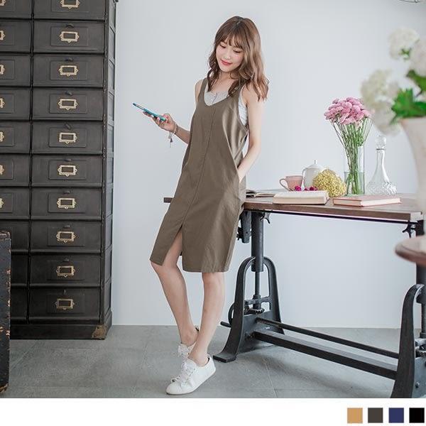 OB嚴選《DA2726-》簡約好搭~V領素色開岔下襬雙口袋吊帶裙.4色--適 S~L