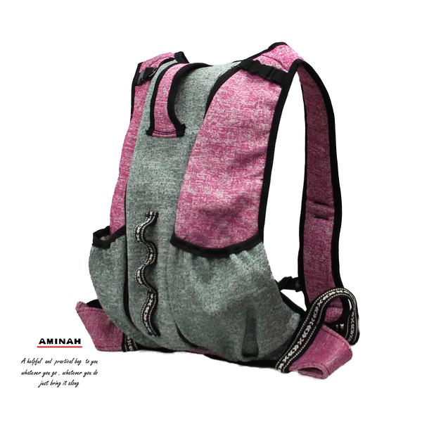 防割背心式背包-綠紅色 AMINAH~【Anti-Cut-01】