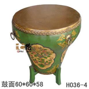 田園中式手繪做舊 多特色圓鼓茶机