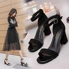 一字扣帶涼鞋女2021新款夏季仙女風百搭粗跟羅馬女鞋時裝高跟鞋潮【快速出貨】