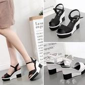 坡跟涼鞋女厚底韓版女士中跟百搭高跟鞋鬆糕一字女鞋 交換禮物