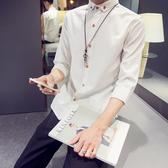 夏季白襯衫短袖修身男士7七分袖襯衣服中袖韓版潮流男裝寸衫學生 快速出貨