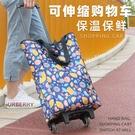 可伸縮保溫保鮮便攜摺疊購物車買菜車家用拖車輕便拉桿行李小推車 「限時免運」