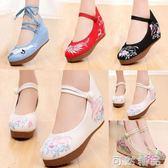 繡花鞋女春款老北京布鞋女民族風內增高婚鞋古裝古風鞋子女漢服鞋 可然精品