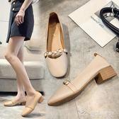 豆豆鞋春秋新款韓版百搭方頭瑪麗珍單鞋粗跟復古奶奶鞋平底豆豆鞋女  夢想生活家