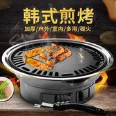 圓形燒烤爐戶外木炭全套不銹鋼韓式無煙家用商用煎盤 mc10486『男人範』tw