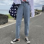 牛仔褲女復古港味高腰直筒褲學生時尚寬鬆闊腿長褲子 沸點奇跡
