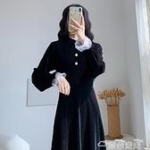 金絲絨洋裝金絲絨小黑裙2021秋冬新款赫本風法式復古輕奢連身裙黑色長款裙子 雲朵走走