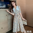 碎花洋裝女2021夏季輕熟風氣質法式顯瘦娃娃領復古小雛菊長裙子 小艾新品