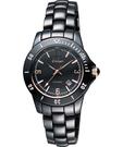 Diadem 黛亞登 菱格紋雅緻陶瓷腕錶-黑x玫塊金時標 8D1407-551RG-D