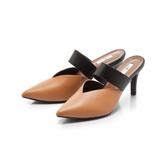 【Fair Lady】優雅小姐Miss Elegant v型曲線尖頭高跟穆勒鞋 沙漠棕