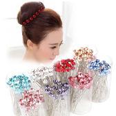 韓國水鑽時尚髮插U型夾,永生花裝飾配材,單支