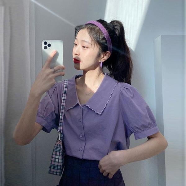 短袖襯衫 襯衫女紫色泡泡袖設計感小眾短袖襯衣百搭外穿法式短款薄款上衣夏 嬡孕哺 免運