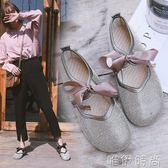 娃娃鞋 新款韓版水鑽滿鑽蝴蝶結圓頭休閒鞋奶奶鞋娃娃鞋學生單鞋女鞋 唯伊時尚