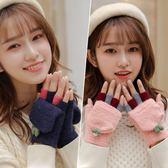 手套女冬季學生加絨加厚翻蓋保暖可愛手套【3C玩家】