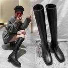 長靴 腿粗長靴騎士靴高跟不過膝春秋冬單靴長筒彈力靴粗跟高靴 阿薩布魯