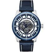 【台南 時代鐘錶 POLICE】義式潮流 機械風格三眼日期時尚手錶 15410JSTBL-04 皮帶 金屬藍 47mm