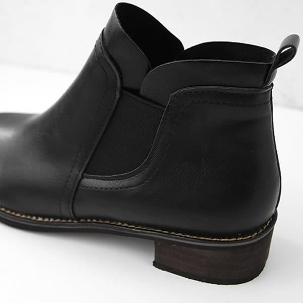 ★冬裝上市★MIUSTAR 韓國同款!拼接側鬆緊皮革低跟短靴(共2色,36-40)【NF4117ZP】預購