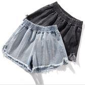 大尺碼牛仔短褲 韓版貼鑽毛邊牛仔熱褲百搭顯瘦 2色 XL-5XL #pm196915 ❤卡樂❤