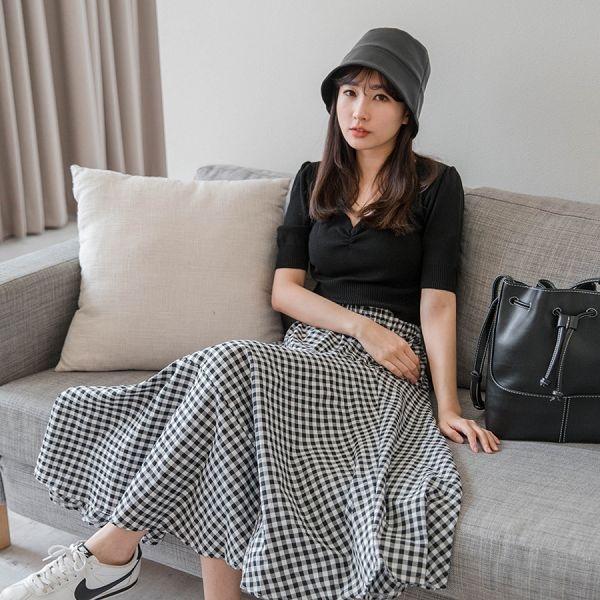MIUSTAR A字傘襬鬆緊格子棉麻長裙(共2色)【NH1180】預購
