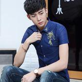 短袖印花襯衫男潮流印花學生夏季休閒薄款襯衣《印象精品》t463