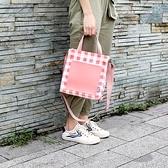 帆布手提包-撞色格子拼接方型女側背包4色73xb38[巴黎精品]