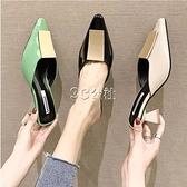 包頭半拖鞋女夏外穿新款韓版百搭時尚漆皮涼拖中跟仙女鞋夏天