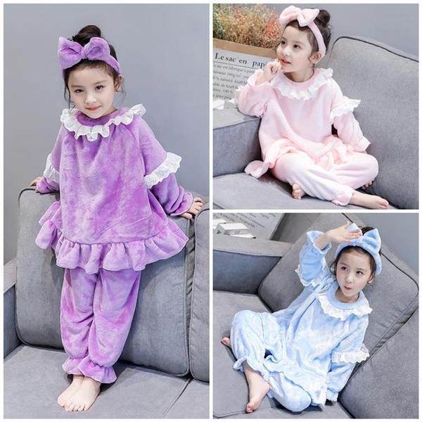 兒童睡衣 兒童春裝珊瑚絨家居服睡衣套裝新款女童寶寶法萊絨【快速出貨八折搶購】