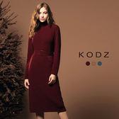 東京著衣【KODZ】溫熱系-歐美質感簡約立領多色針織洋裝-附腰帶-S.M.L(172560)