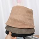 漁夫帽 春新款麂皮絨漁夫帽個性素顏水桶帽純色百搭帽子女日系盆帽【快速出貨八折搶購】