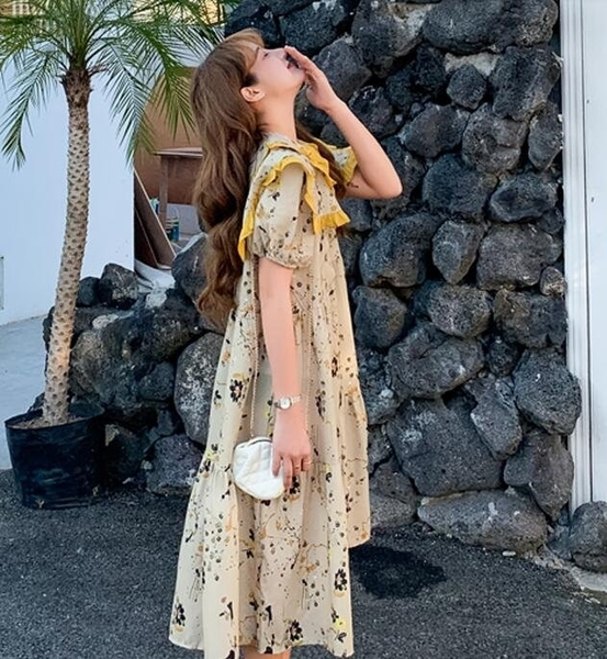 洋裝 連身裙 中大尺碼 L-4XL新款大碼寬鬆遮肚子顯瘦娃娃領連衣裙R032-3883.胖胖唯依