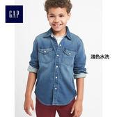 Gap男童 柔軟舒適長袖牛仔襯衫 850089-淺色水洗
