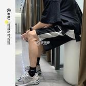 休閒五分褲男港風直筒寬鬆夏季薄款短褲潮流拼接外穿中褲