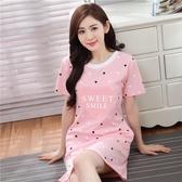 夏季韓版女士純棉短袖睡裙加大碼公主寬鬆可愛睡衣性感裙子家居服 快速出貨