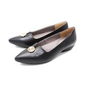 【南紡購物中心】WALKING ZONE (女)尖頭金釦娃娃鞋 包鞋 女鞋 -黑(另有可可)