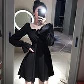 綁帶洋裝 復古法式方領洋裝女顯瘦黑色後背綁帶性感小黑裙泡泡袖打底裙潮-Milano米蘭
