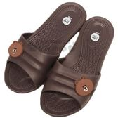 〔小禮堂〕Line friends 熊大 極輕防滑塑膠拖鞋《深棕.大臉》室內拖鞋 4713909-234