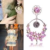 鍍18K金耳環-巴洛克美麗花朵樹枝女耳飾2色73ns18【時尚巴黎】